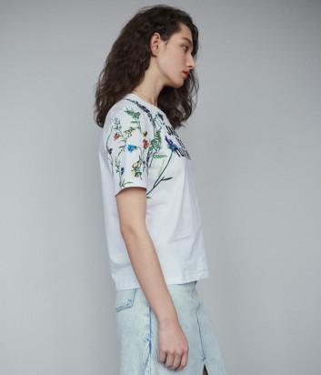 Белая футболка Maje E19TOBIN с яркой цветочной вышивкой