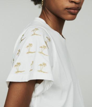 Белая футболка Maje E19TIGRINA с вышивкой в виде пальм