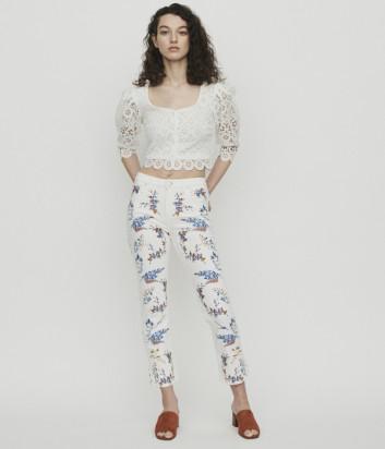 Белые джинсы Maje E19PIA с цветочной вышивкой