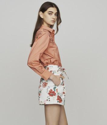 Белые шорты из денима Maje E19IFLOR с цветочным принтом