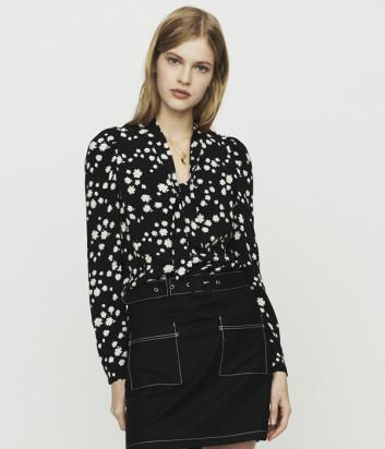 Черная блуза Maje E19COSINI с принтом в ромашку