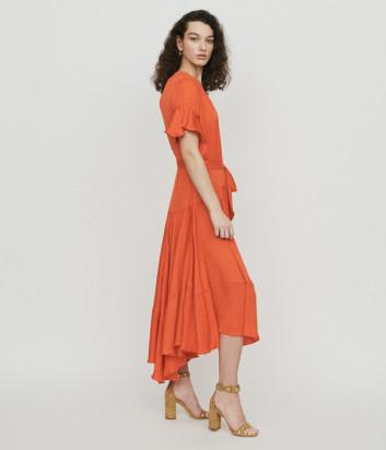Оранжевое платье Maje E19RETTA с драпировкой и оборками