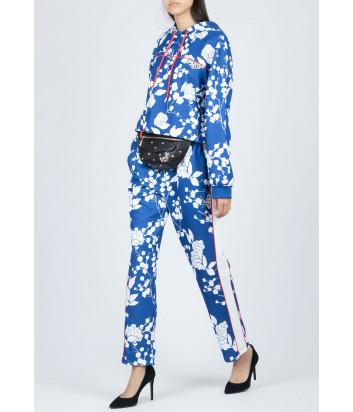 Синие брюки PINKO 1G13WX с белым цветочным принтом