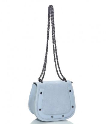 Замшевая сумочка на цепочке Leather Country 2692 с откидным клапаном голубая