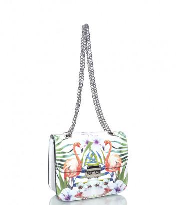 Белая кожаная сумочка на цепочке Leather Country 2592 с изображением фламинго