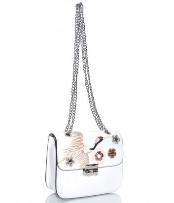 Белая кожаная сумочка на цепочке Leather Country 2592 с изображением птицы