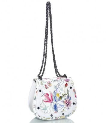 Белая кожаная сумочка на цепочке Leather Country 2692 с цветочным принтом