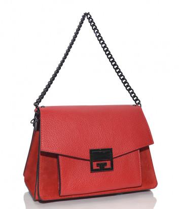 Красная сумка Leather Country 3993 в комбинации из кожи и замши
