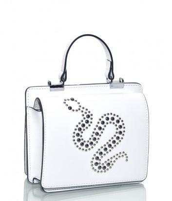 Белая сумка Leather Country 3593 в гладкой коже с заклепками в виде змеи