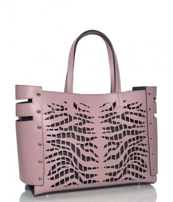 Сумка-шоппер Leather Country 5092819 с резным рисунком цвета пыльной розы