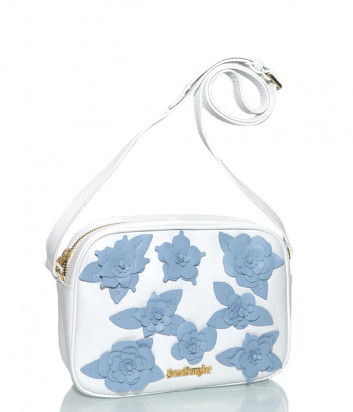 Белая кожаная сумка Sara Burglar 361 декорированная голубыми цветами