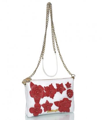Белая кожаная сумка Sara Burglar 362 декорированная красными цветами