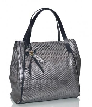 Серебристая сумочка Ripani 6032 из перфорированной кожи