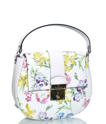 Кожаная сумочка Ripani 6182 белая с цветочным принтом
