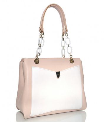 Кожаная сумка Ripani 5340 розовая с внешним белым карманом