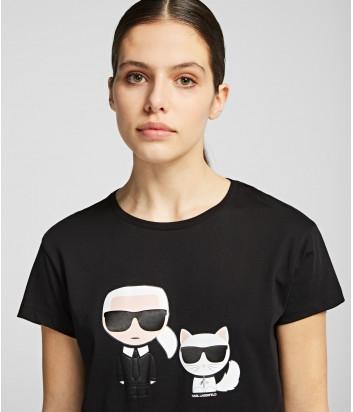 Черная футболка Karl Lagerfeld 96KW1717 с рисунком