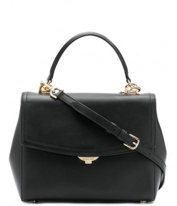 Кожаная сумка Michael Kors Ava Medium с короткой ручкой и плечевым ремнем черная