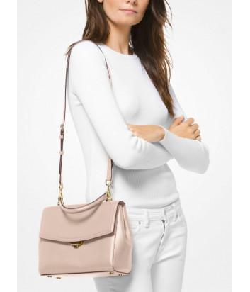 Кожаная сумка Michael Kors Ava Medium с короткой ручкой и плечевым ремнем нежно-розовая