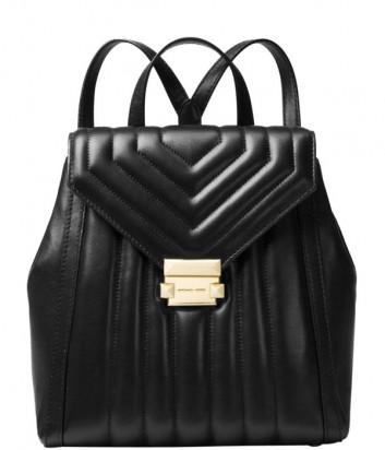 Черный рюкзак Michael Kors Whitney в стеганной коже с золотой фурнитурой