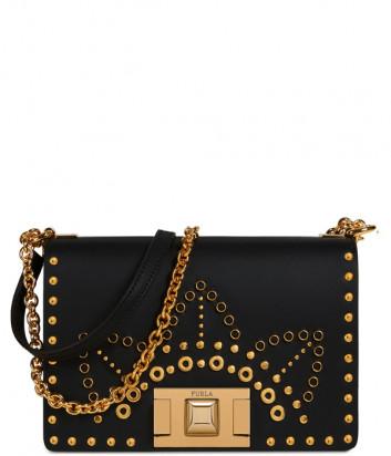 Кожаная сумочка на цепочке Furla Mimi Mini 1023351 черная с заклепками