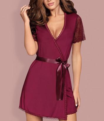 Комплект Obsessive Miamor халат и трусики декорирован кружевом бордовый