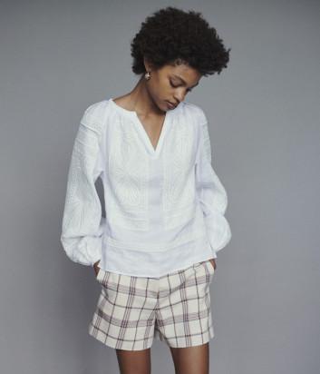 Белая блуза Maje E19LIPPY с гипюром и вышивкой