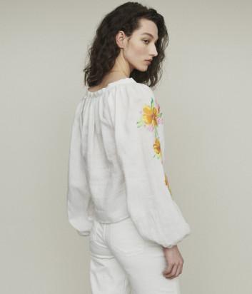 Льняная блуза Maje E19LIPSY с яркой цветочной вышивкой