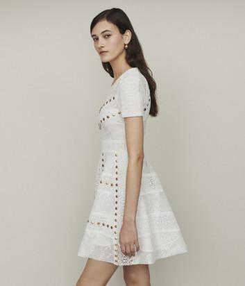 Белое платье Maje E19RISTA декорированное заклепками