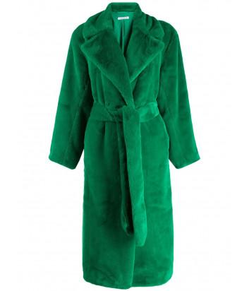 Искусственная шуба P.A.R.O.S.H. Perfecto 430740 с классическим воротником зеленая