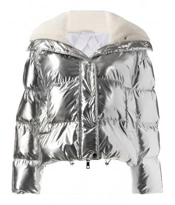 Короткая куртка P.A.R.O.S.H. Proud 490522 с капюшоном серебристая