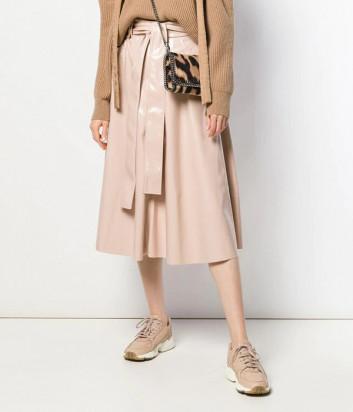 Лаковая юбка MSGM 2741MDD с высокой талией цвета пудры