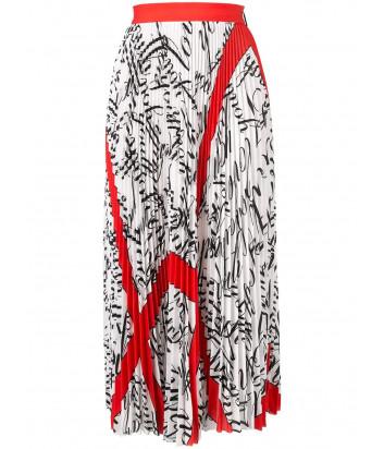 Плиссированная юбка MSGM 2741MDD белая с черно-красным принтом