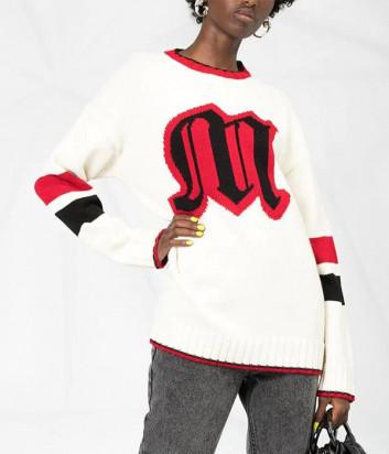 Вязаный свитер MSGM 2741MDM модель оверсайз белый с логотипом