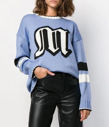 Вязаный свитер MSGM 2741MDM модель оверсайз голубой с логотипом