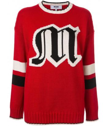Вязаный свитер MSGM 2741MDM модель оверсайз красный с логотипом
