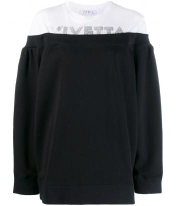 Черно-белый джемпер Vivetta E0714214 с логотипом из глиттера