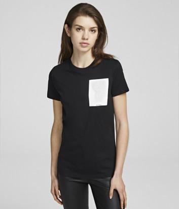 Черная футболка Karl Lagerfeld 96KW1715 с белым кармашком