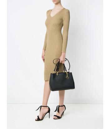 Большая сумка Michael Kors Cynthia в сафьяновой коже черная