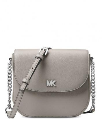 Кожаная сумка через плечо Michael Kors Mott серая с серебристой фурнитурой