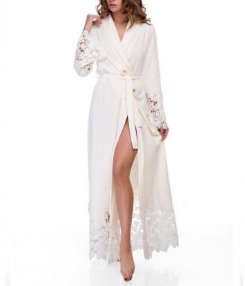 Длинный халат Suavite Мариэль декорированный кружевом кремовый