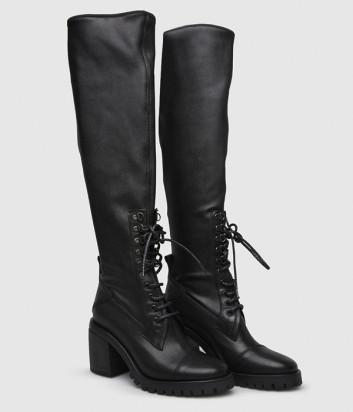 Высокие кожаные сапоги Fru.it 5920 черные