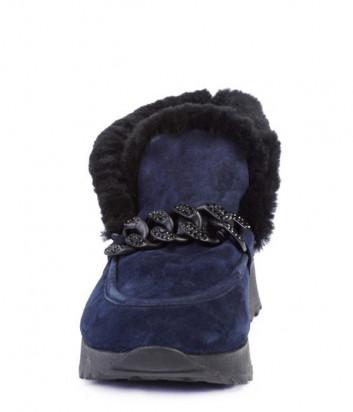 Замшевые полуботинки Helena Soretti 3118 на меху синие