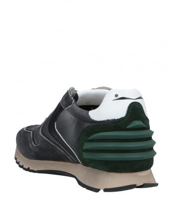 Кроссовки Voile Blanche Liam Power серые с зелеными вставками