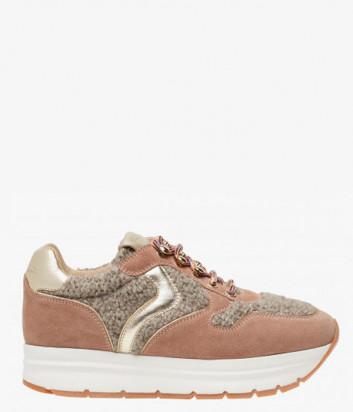 Розовые замшевые кроссовки Voile Blanche May Hook со вставками из шерсти