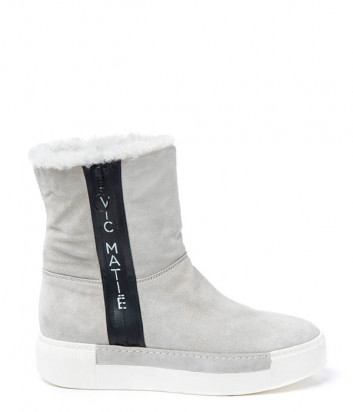 Замшевые ботинки на меху Vic Matie с мехом серые