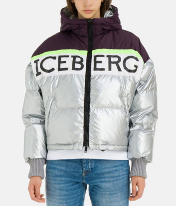 Короткий пуховик ICEBERG J0115946 серебристый с логотипом