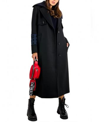 Длинное пальто ICEBERG N0313052 с логотипом на рукавах черное