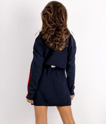 Трикотажное платье ICEBERG AH017010 с молниями на рукавах синие