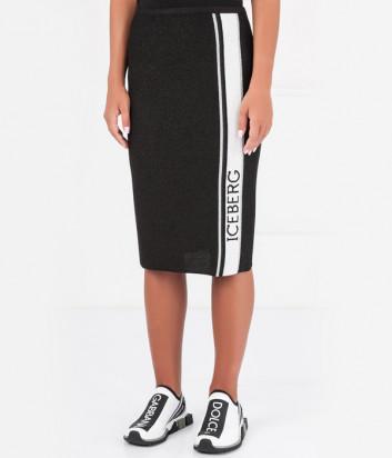 Черная трикотажная юбка ICEBERG с лампасом и люрексом