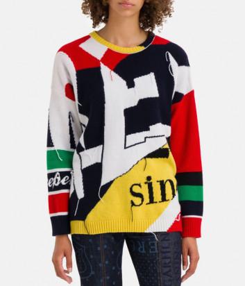 Шерстяной свитер ICEBERG A0107077 с ярким цветным принтом
